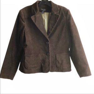 Rafaella Velvet Textured Brown Blazer Jacket 10P
